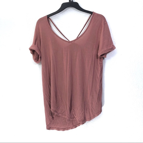 paper tee Tops - Paper + Tee Mauve Strappy Back Tee